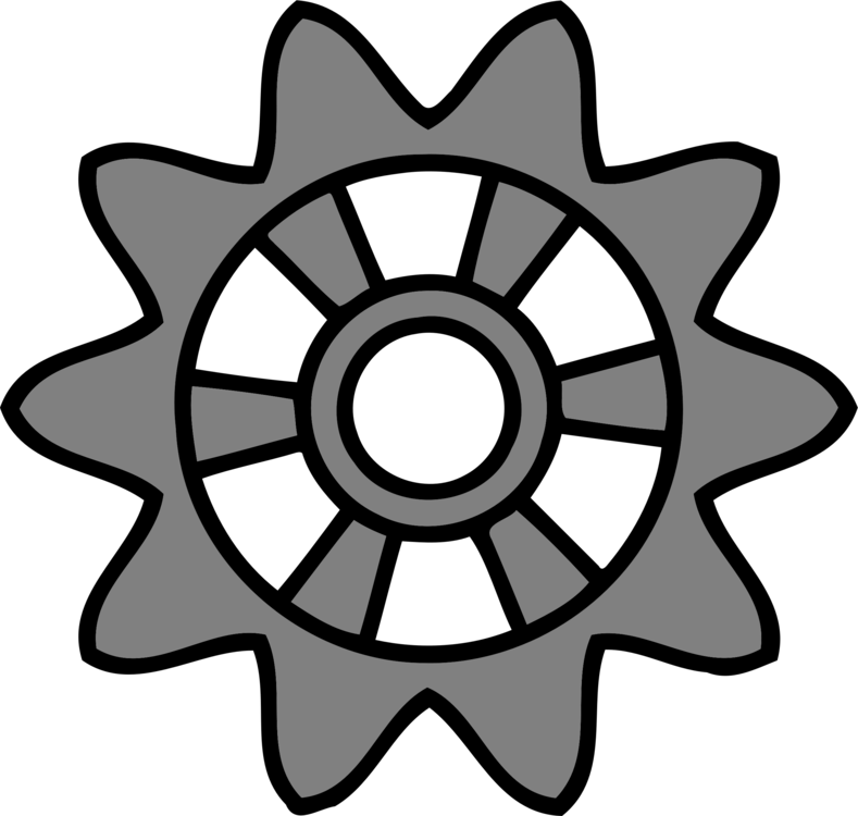 Drawing icons engineering. Computer gear wheel free
