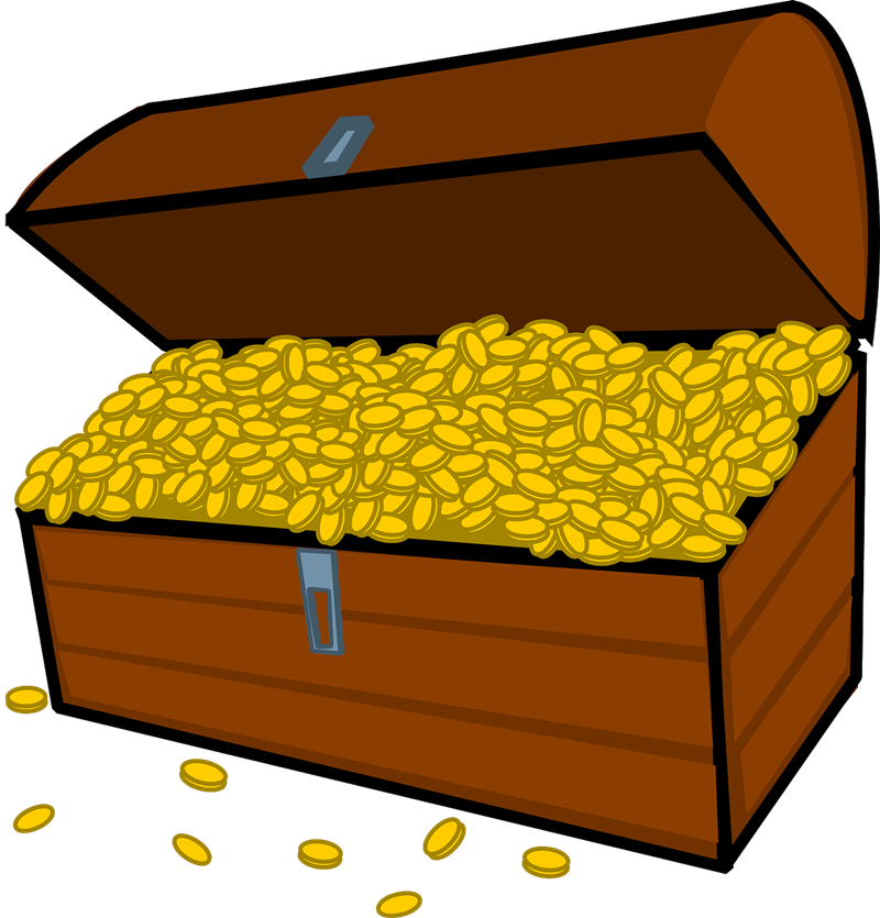 Vector coins gold. Free treasure chest images