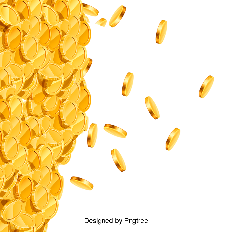 Vector coins gold. Floating coin png and