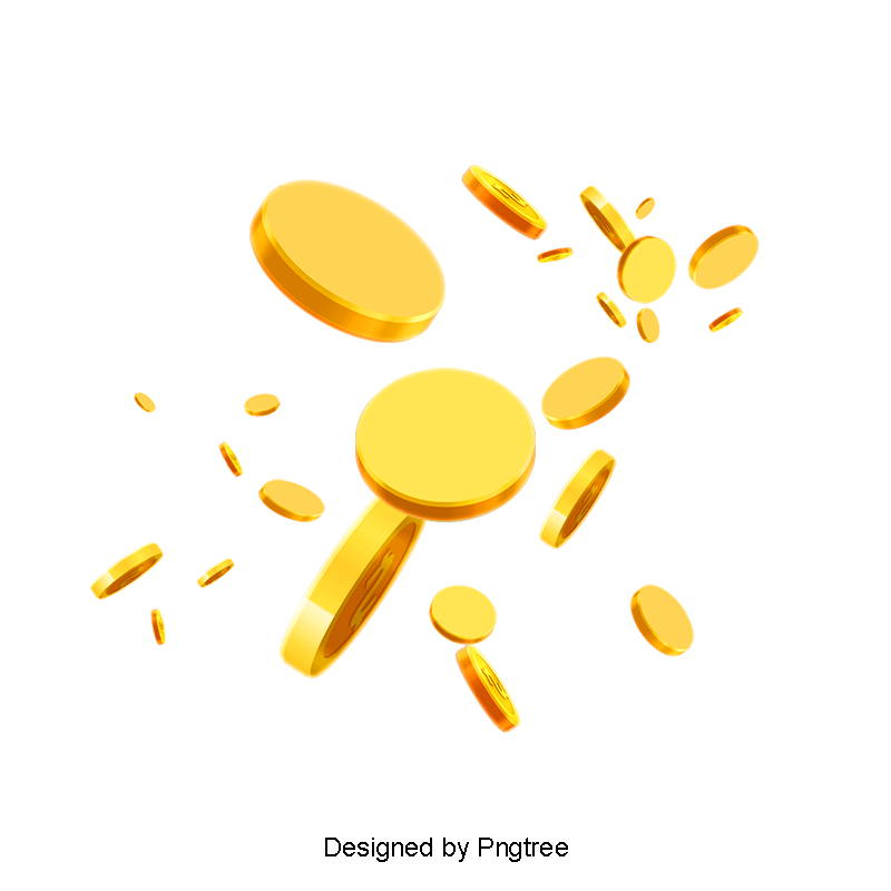 Vector coins gold. Flying scattered coin material