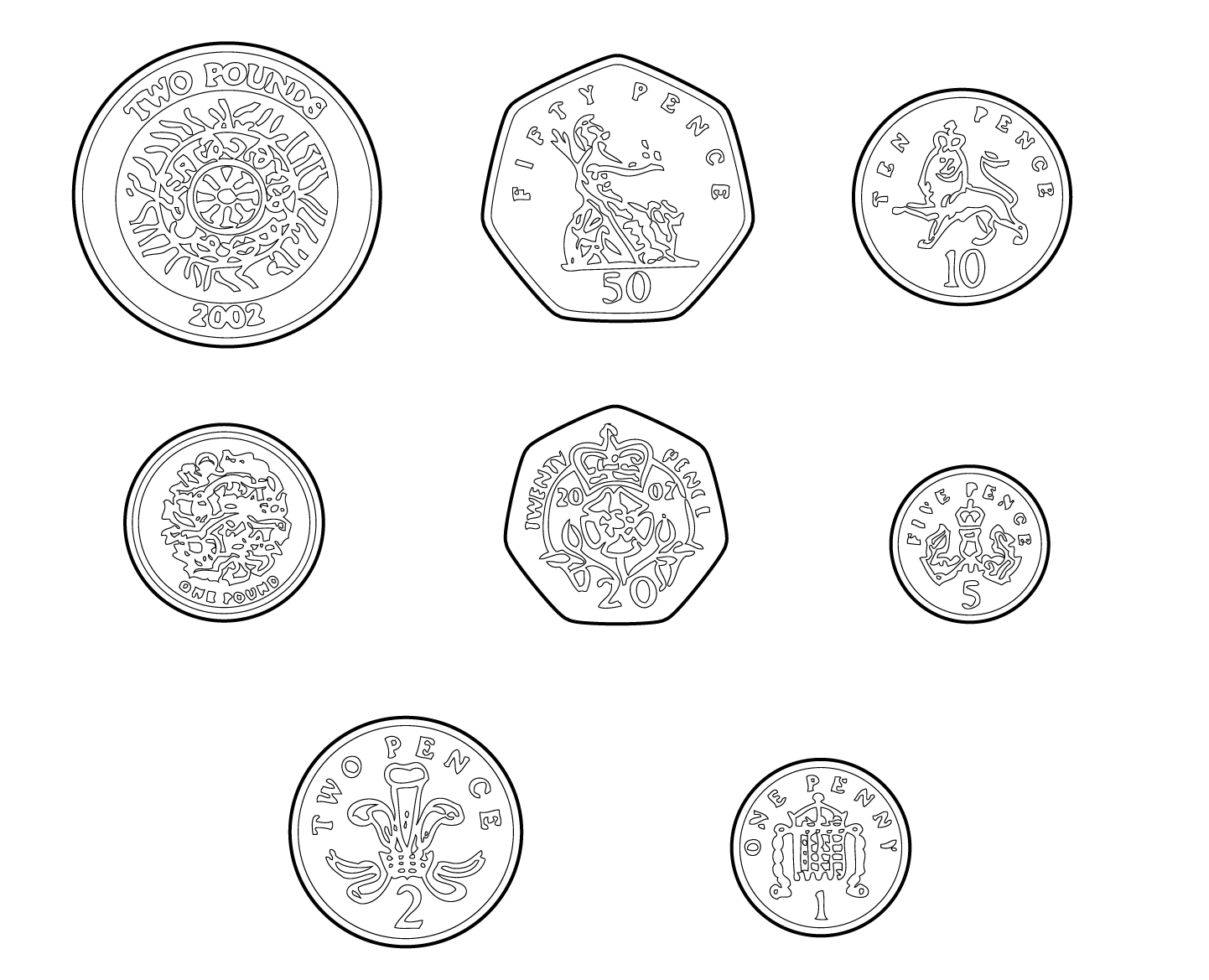 Coins clipart drawn. British pictures and stamps