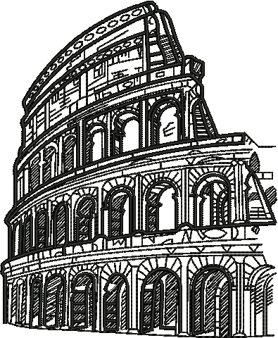 Waterfalls drawing realistic. Of colosseum architecture home