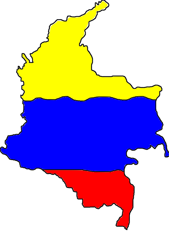 Colombia map png. Departments of blank geography