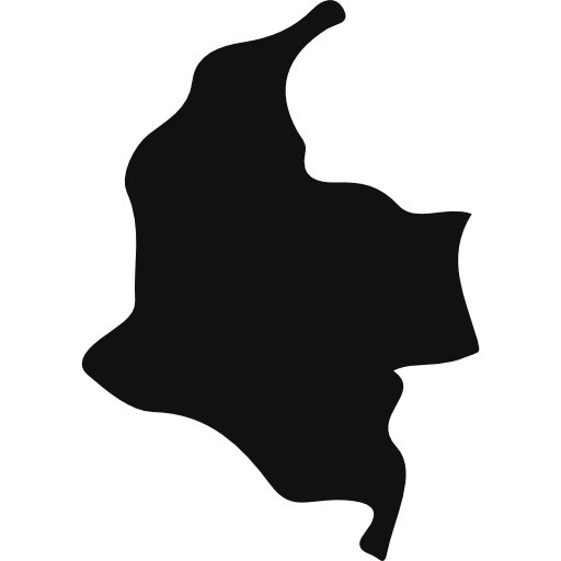 Colombia map png. Black country shape icons