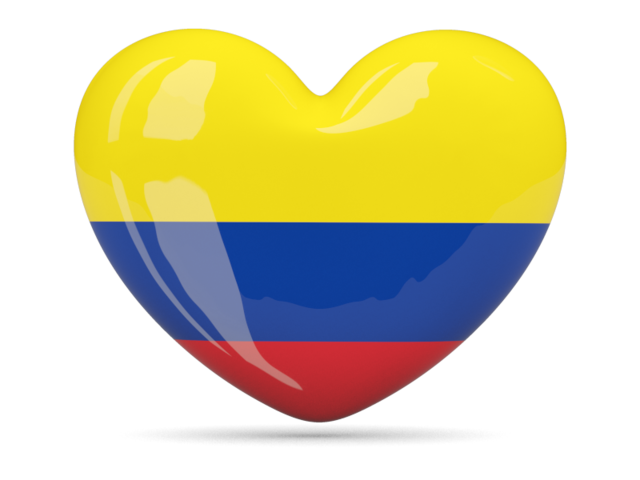Colombian flag png. Heart icon download of