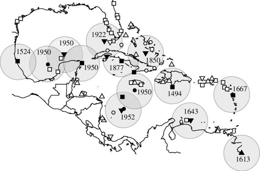 Colony drawing black and white. Locations of breeding colonies