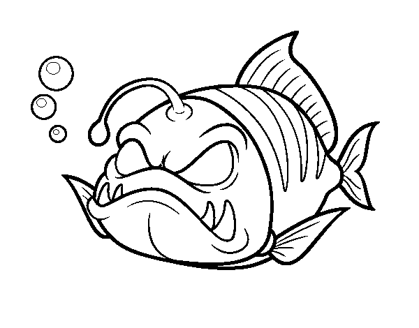 Colony drawing coloring page. Horned lantern fish to