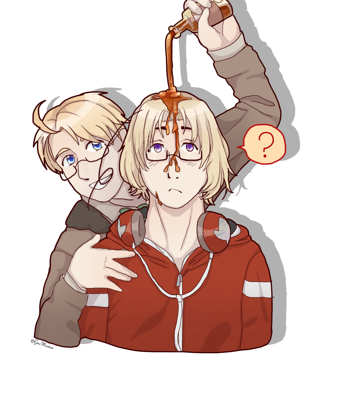 Fencing drawing hetalia. Pouring maple syrup by