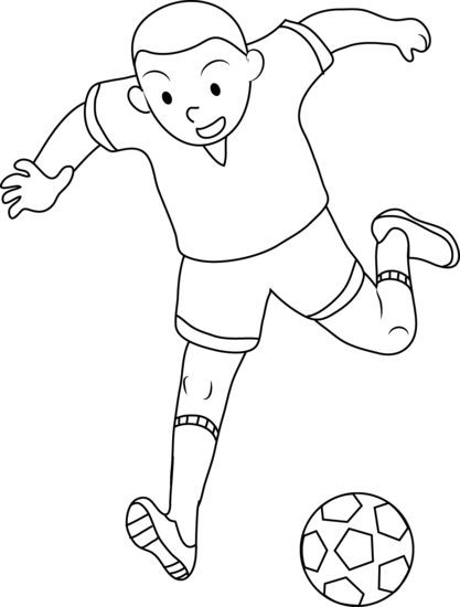 Footballer drawing. Coloring page of boy