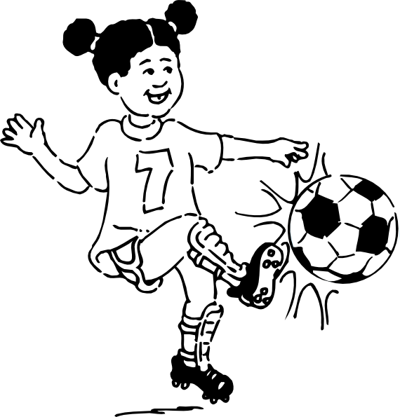 Drawing sports outline. Clip art soccer playing