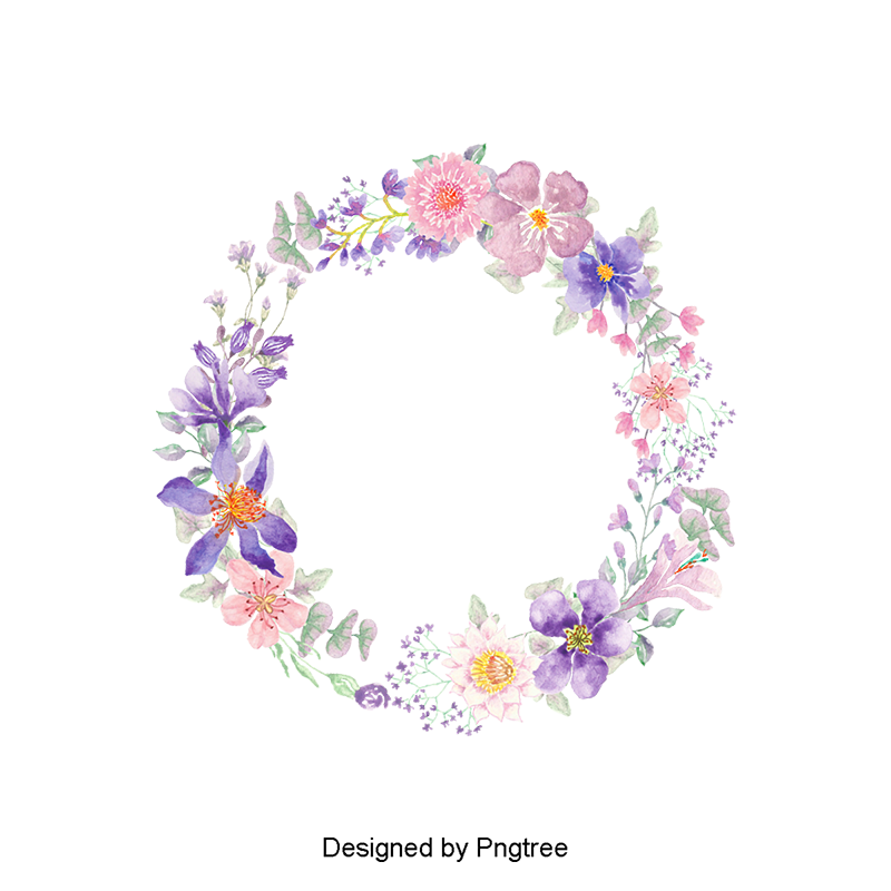 Corona de flores png. Color flower wreath clipart