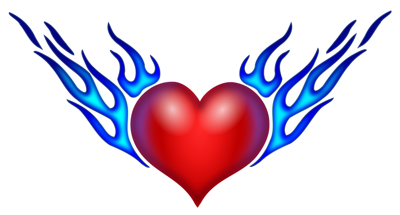 Heart, png flame. Drawing combustion fire color