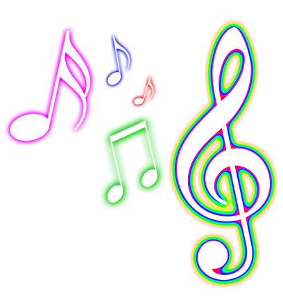 Color music notes png. Colorful musical clipart panda