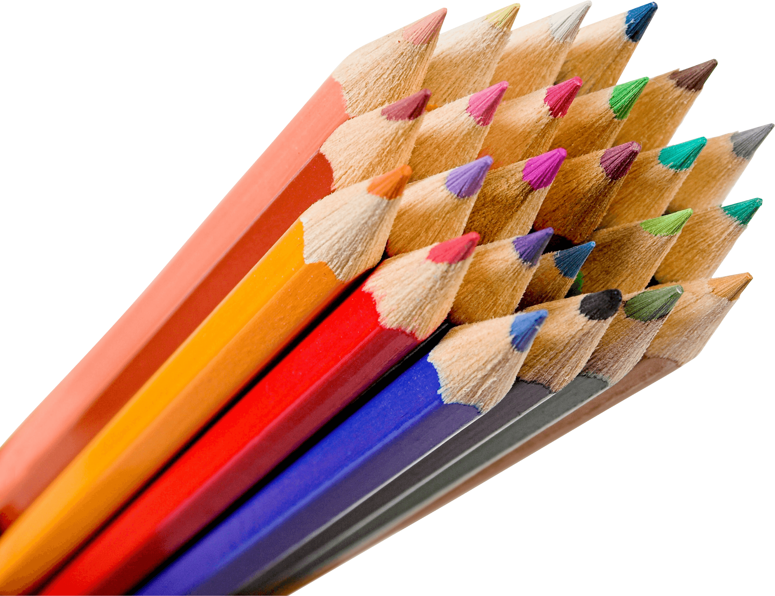 Transparent pencils. Bunch of color png