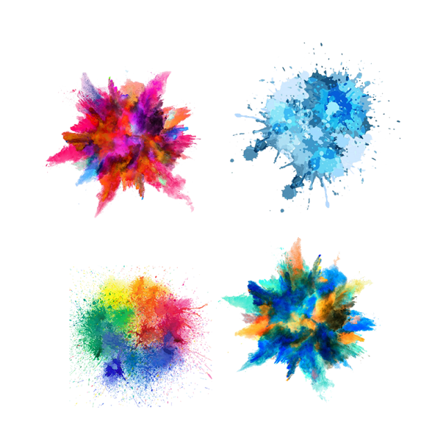 Color splash png. Colorfull transparent background and