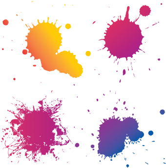 Paint splatter vector png. Download colorful splash collection