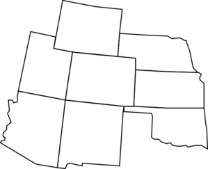 Colorado drawing outline. Map with surrounding states