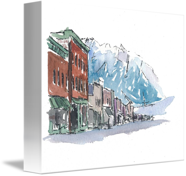 Colorado drawing watercolor. Usa impression telluride main