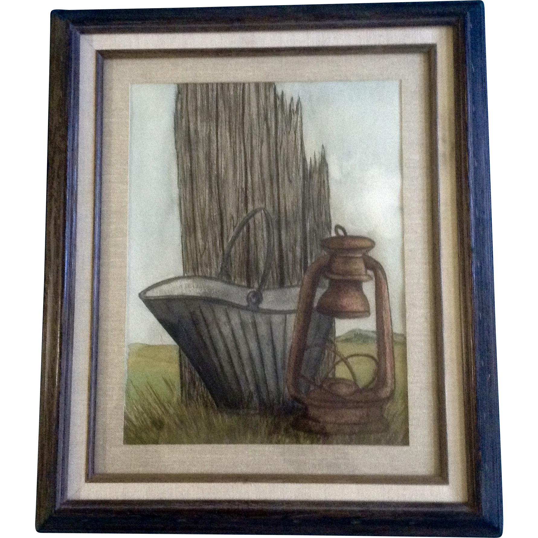 Colorado drawing watercolor. Old coal bucket and