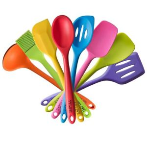 Colored clipart spoon. Rainbow dish set silicone