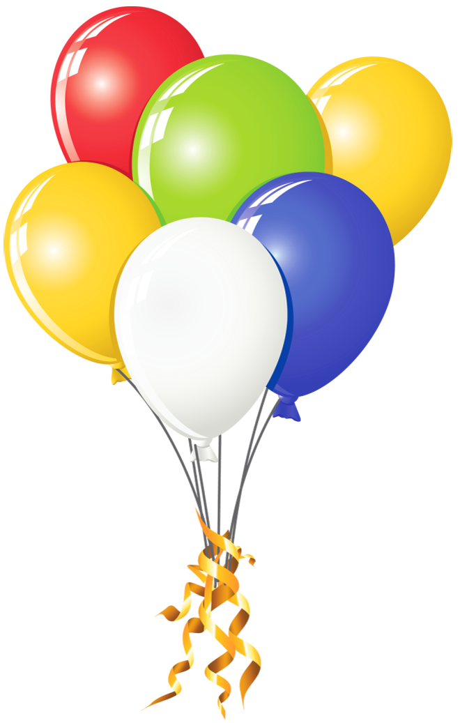 Transparent balloons multi color. Four clipart birthday baloon jpg black and white