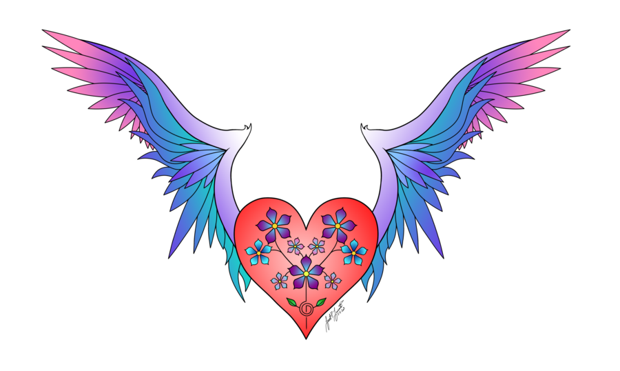 Colored drawing abstract. Heart wings haerts color