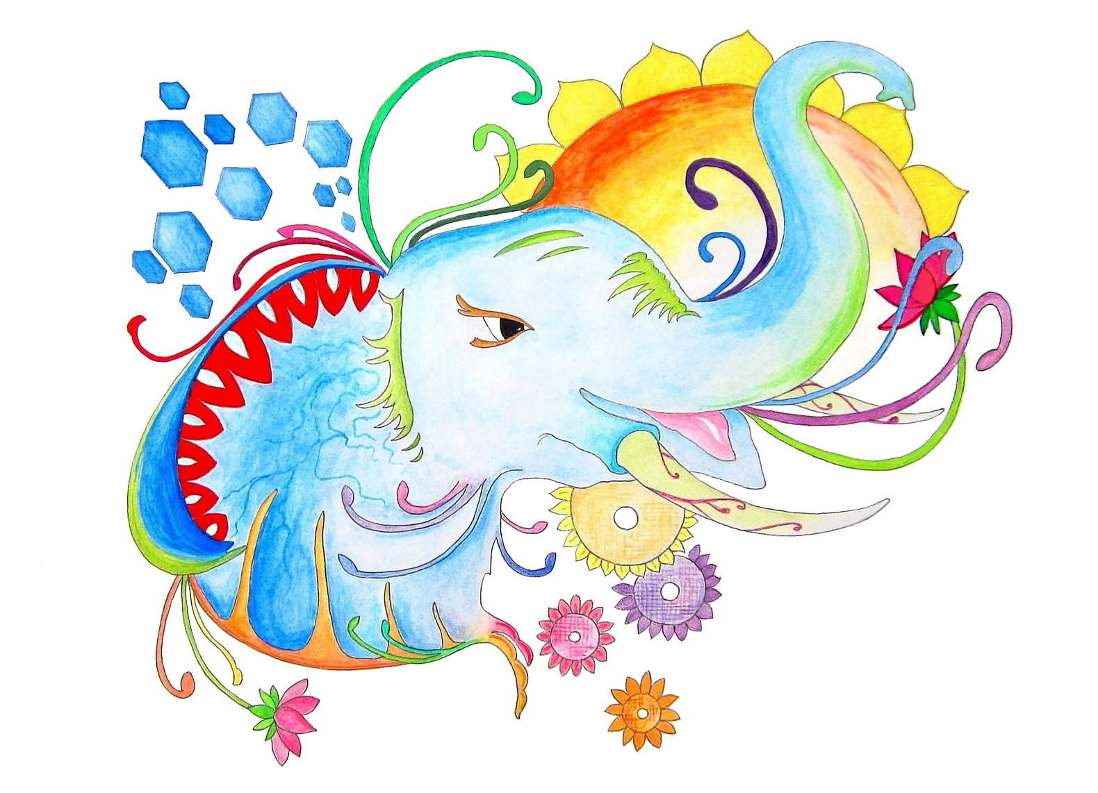 Colored drawing abstract. Elephant illustration set wall
