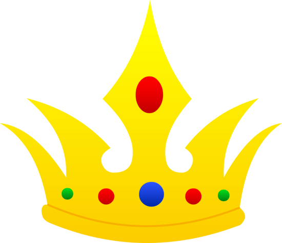 Colored drawing crown. Pointed golden design free