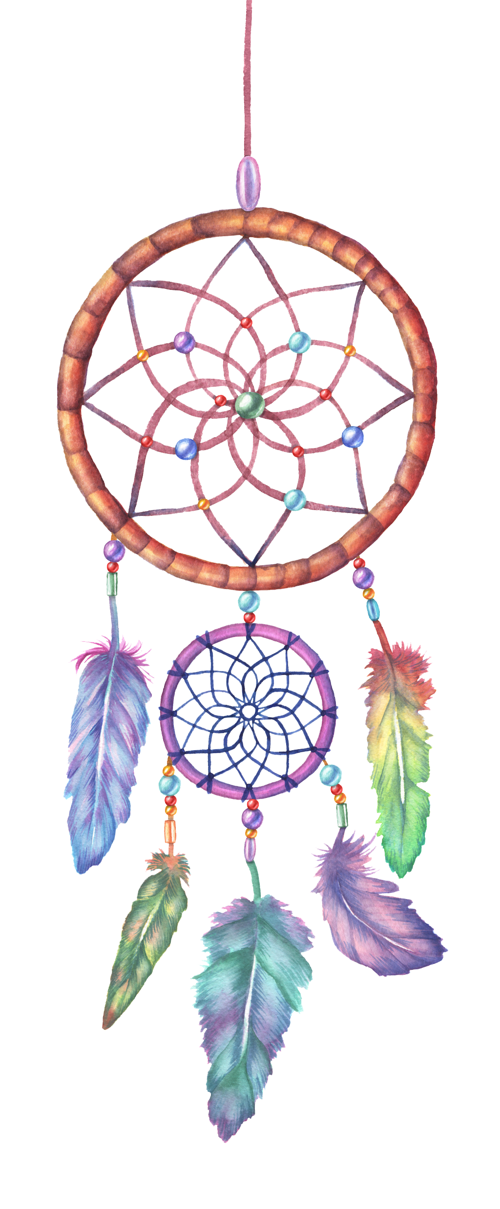 Colored drawing dreamcatcher. Watercolor painting illustration color