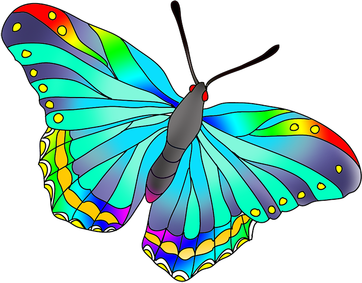 Colored drawing easy. As the butterflies colors