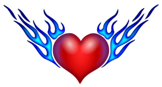 Colored drawing heart. Cool flame download fire