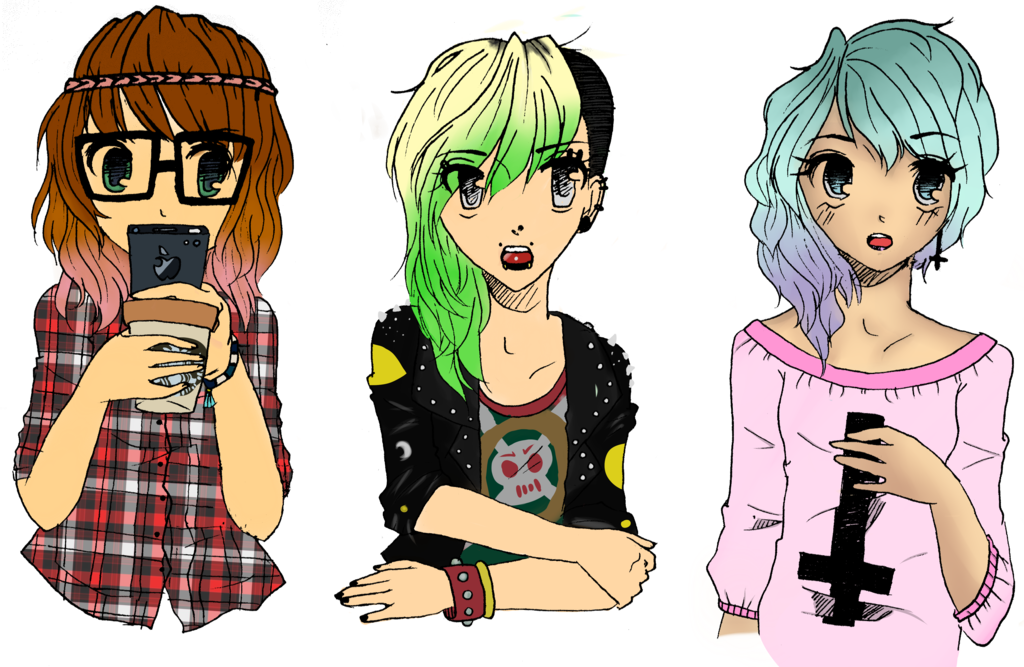 Colored drawing pastel. Hipster punk and goth