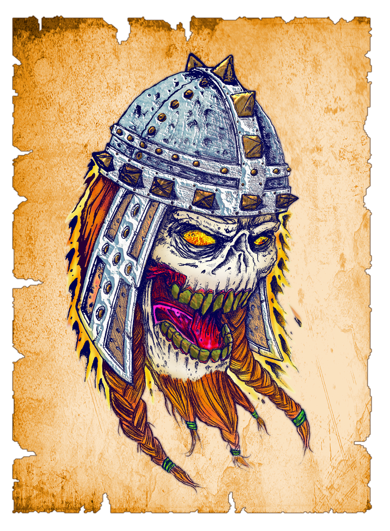 Colored drawing skull. Viking by geosammy on