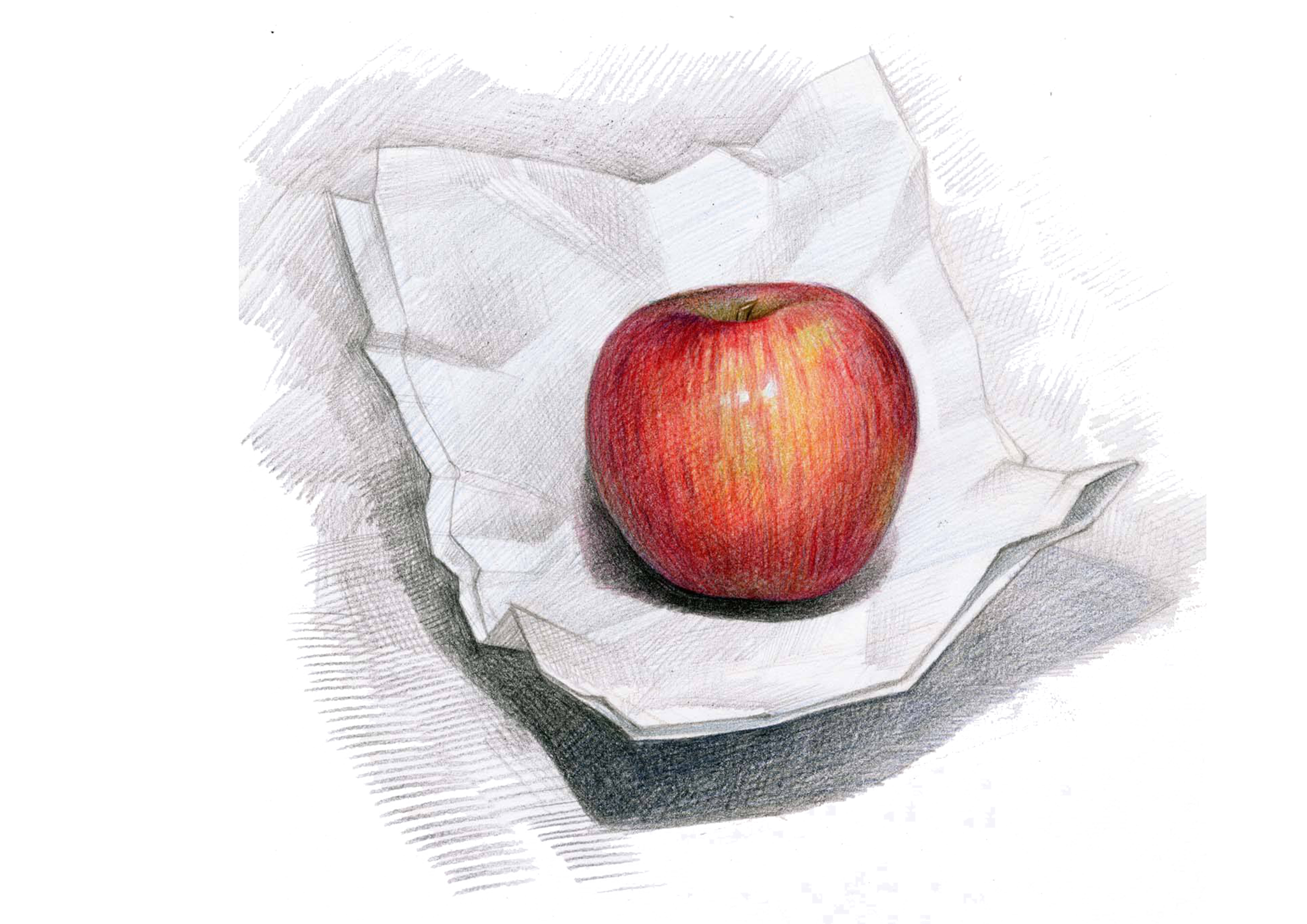 Colored drawing still life. Apple campus pencil painting