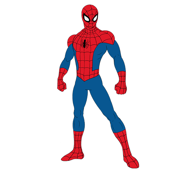Colored drawing superhero. How to draw spiderman