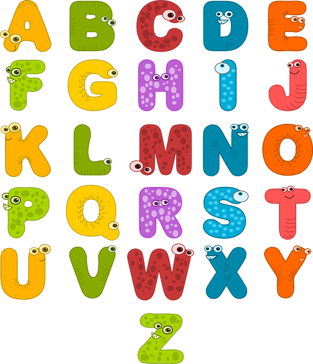 Colored letters png. Graphic of the alphabet