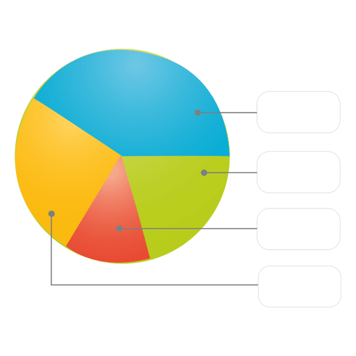 Transparent textbox colorful. Glossy piechart with boxes