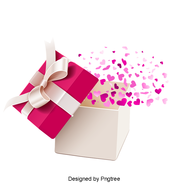 Flying vector person. Colorful love gift box