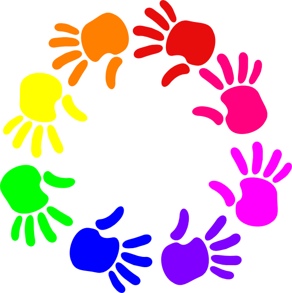 Colorful clipart. Circle of hands clip