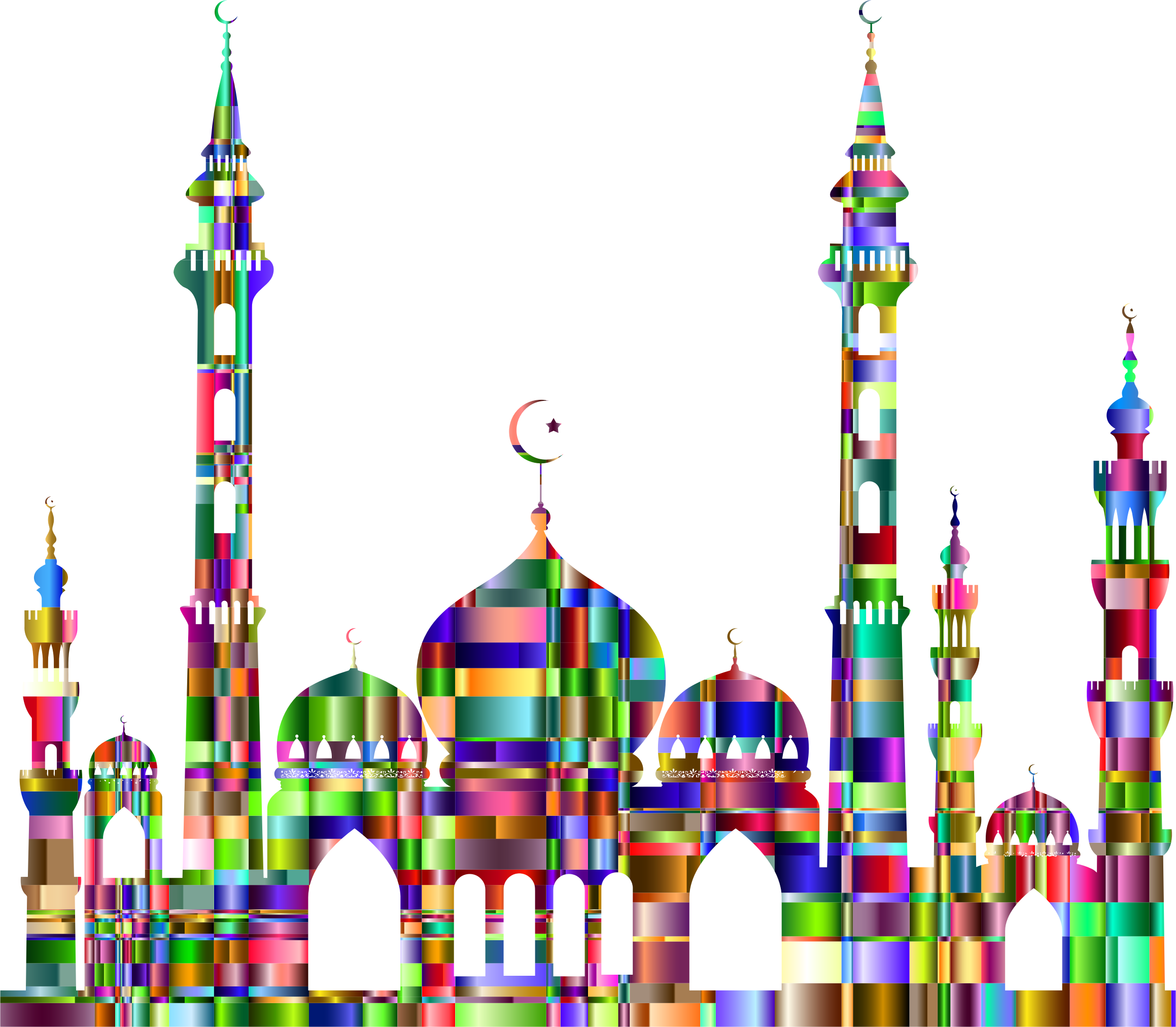 Colorful clipart mosque. Checkered chromatic big image