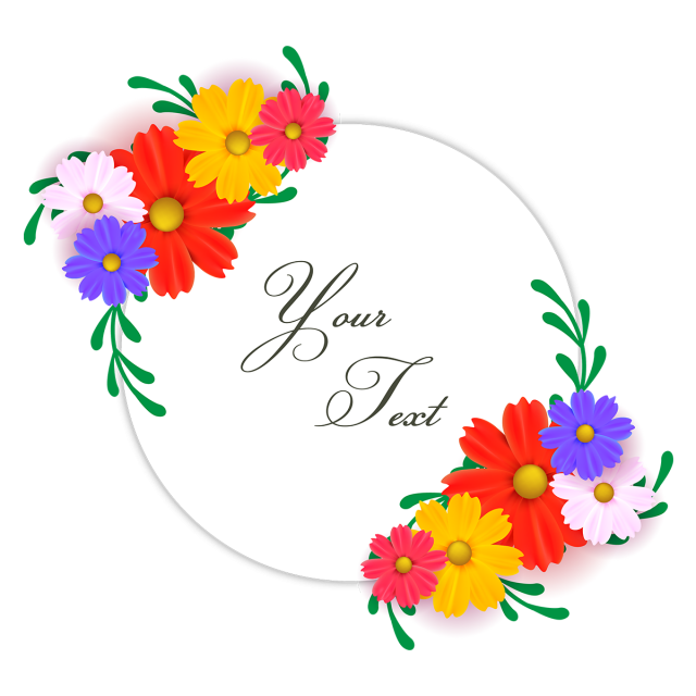 Typography vector. Floral wreath with colorful