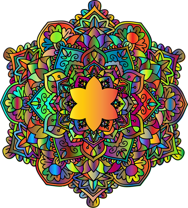 Colorful mandala png. Free photo floral chromatic