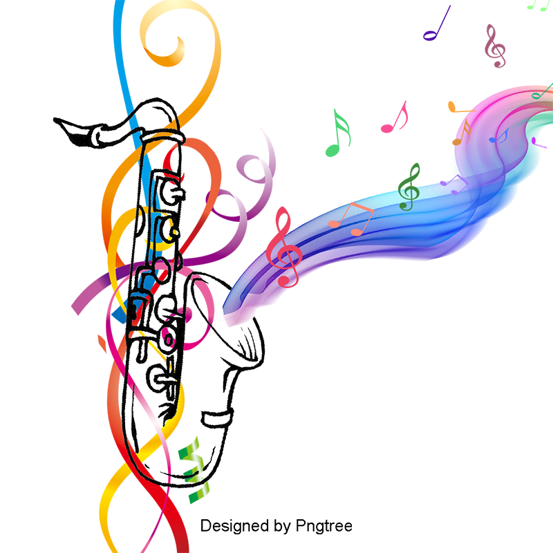 Colorful music notes background png. Saxophone with musical color