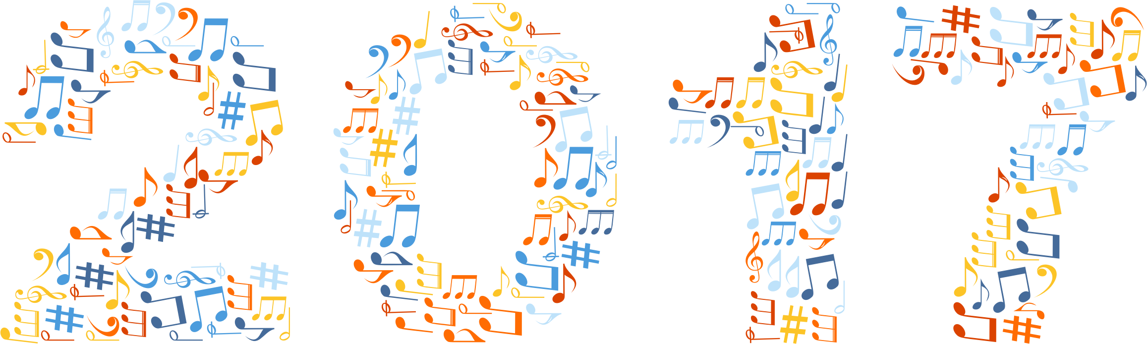 Colorful music notes background png. Download clipart no x