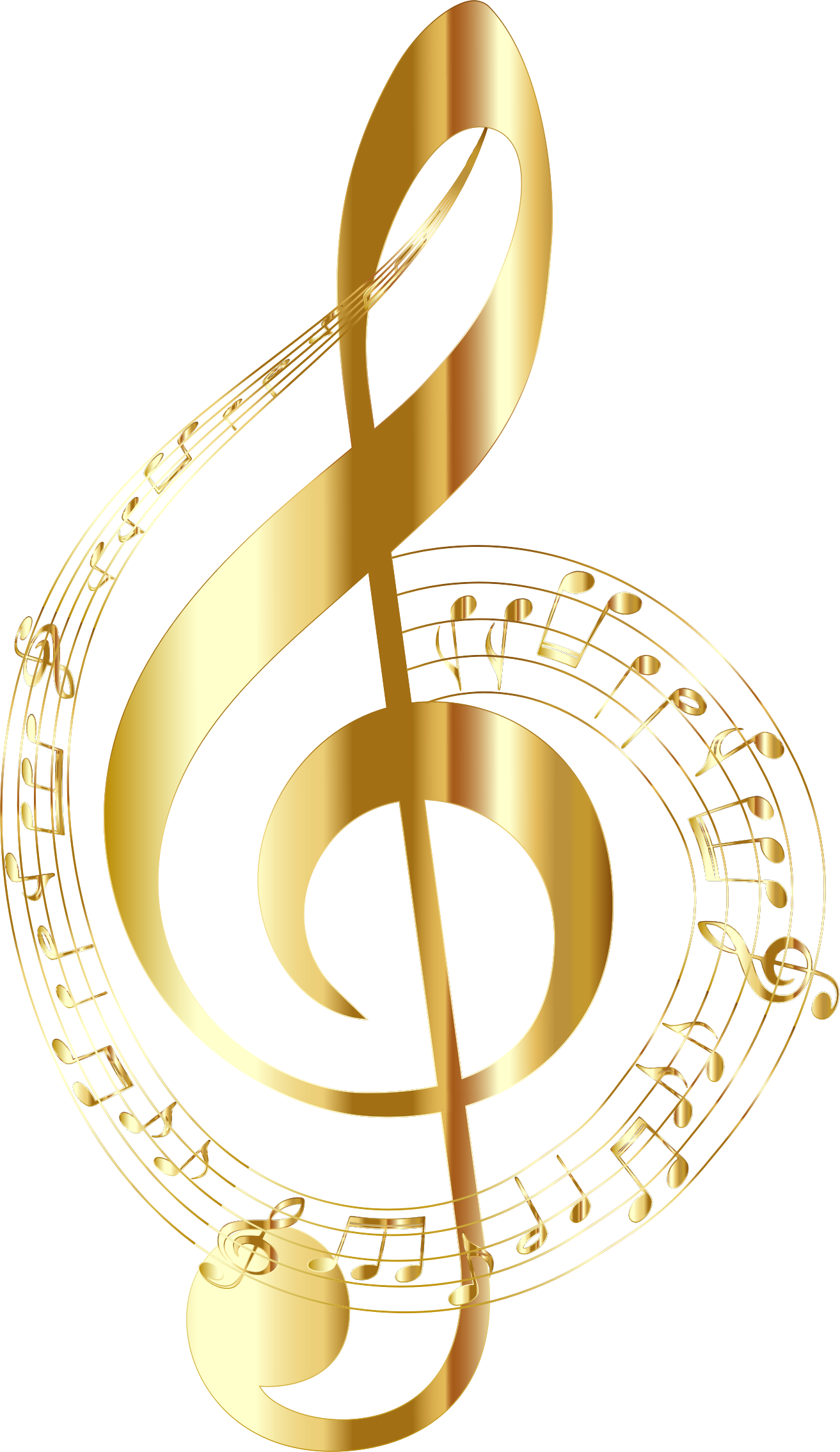 gold music notes png