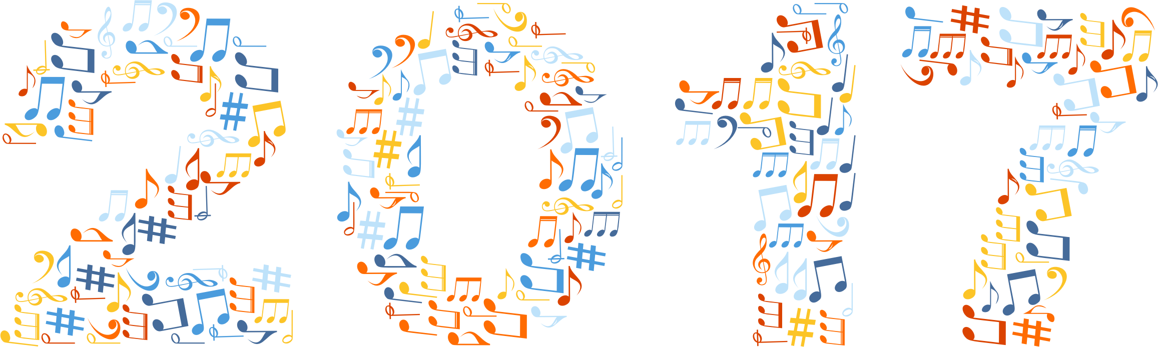 Colorful music notes background png. Musical typography no
