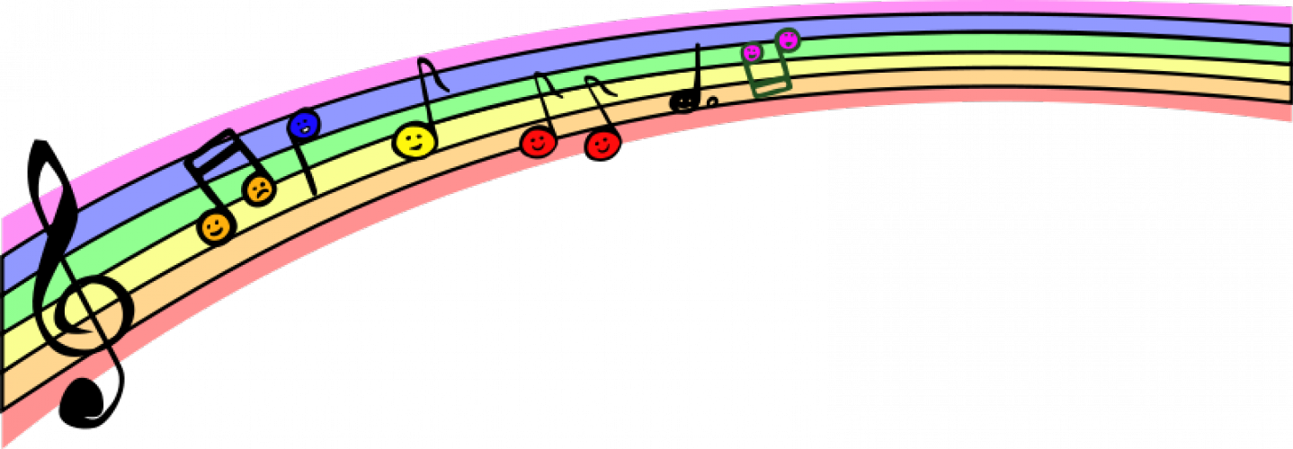 Vector graphics of rainbow. Colorful music notes on a staff png banner royalty free stock