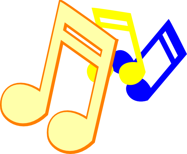Colorful music notes on a staff png. Musical clip art at
