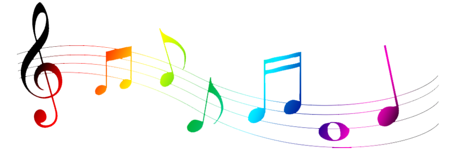 Colorful music notes on a staff png. Collection of clipart