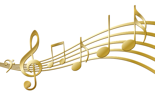 Colorful music notes on a staff png. Image